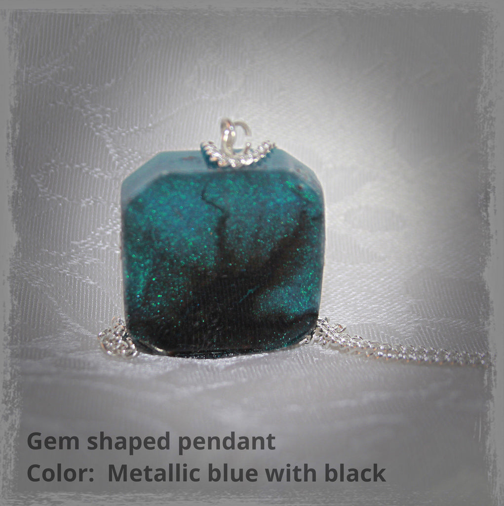 Resin Gem Shaped Pendant with Cremains