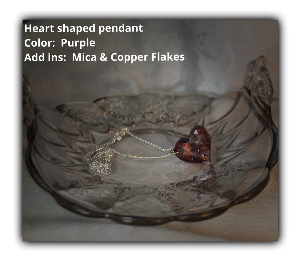 Resin Heart Pendant with Cremains - Pendant - spiritsoultreasures - spiritsoultreasures