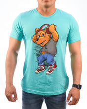 Load image into Gallery viewer, DJ Bear Ruly Emil Unisex Turquoise T-Shirt