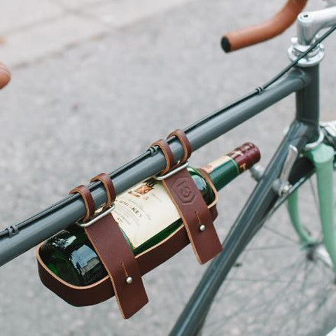 FYXATION Leather Bicycle Wine Caddy Carrier - Pedal Chic