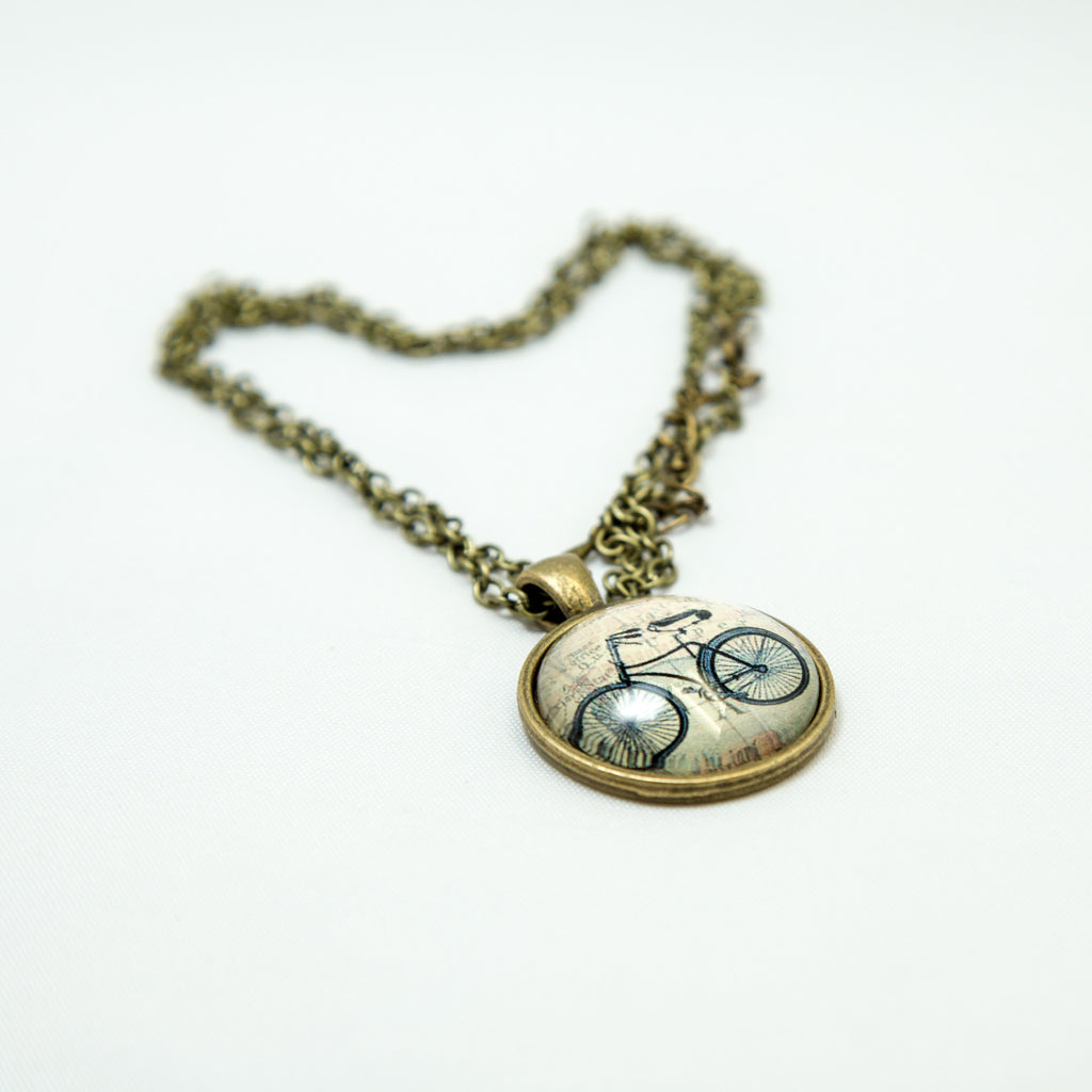Bicycle Travel Map Necklace