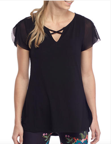 Nanette Lepore Lace-Up Flutter Sleeve Top Black