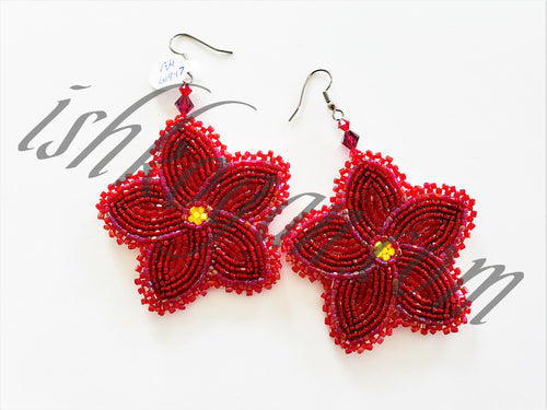 Rosy Red Floral Earrings
