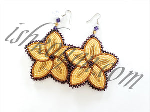 XL Beaded Five-Petal Floral Earrings