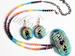 Rainbow Volcano Necklace Set
