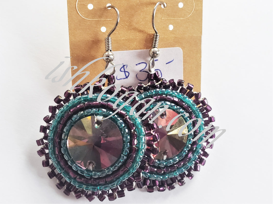Amethyst and Emerald Earrings