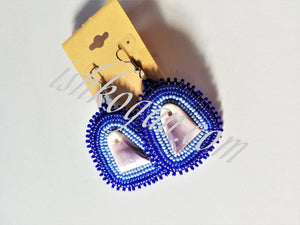 Cobalt Blue Wampum Earrings