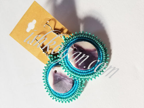 Sky Blue Wampum Earrings