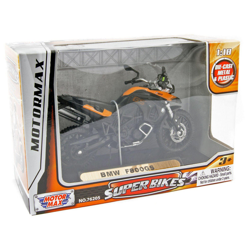 BMW F 800 GS Diecast Model Motorcycle orange - 1:18 Scale-Motormax-Diecast Model Centre