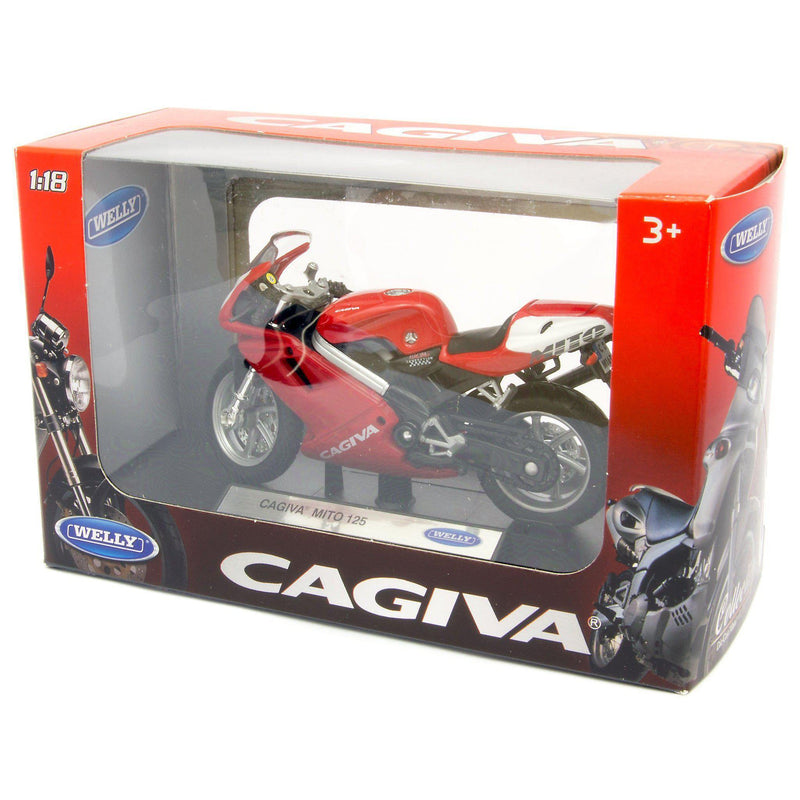 Cagiva Mito 125 Diecast Model Motorcycle red - 1:18 Scale-Welly-Diecast Model Centre