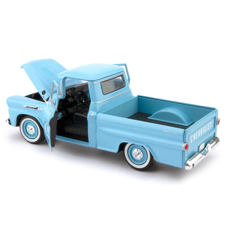 Chevrolet Apache Fleetside Diecast Toy Pickup Truck 1958 blue - 1:24 Scale-Motormax-Diecast Model Centre