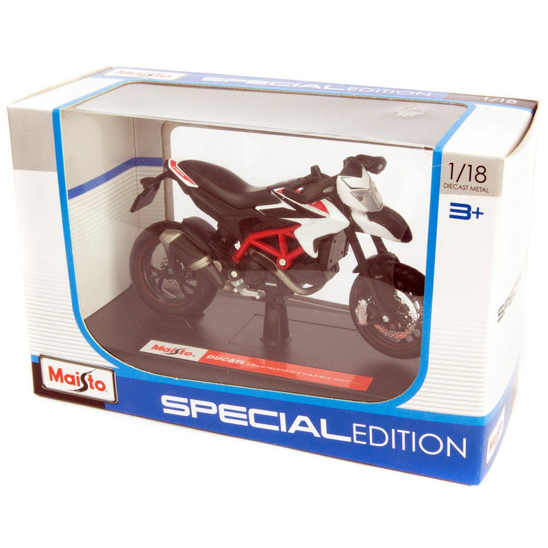 Ducati Hypermotard Diecast Model Motorcycle 2013 white - 1:18 Scale-Maisto-Diecast Model Centre