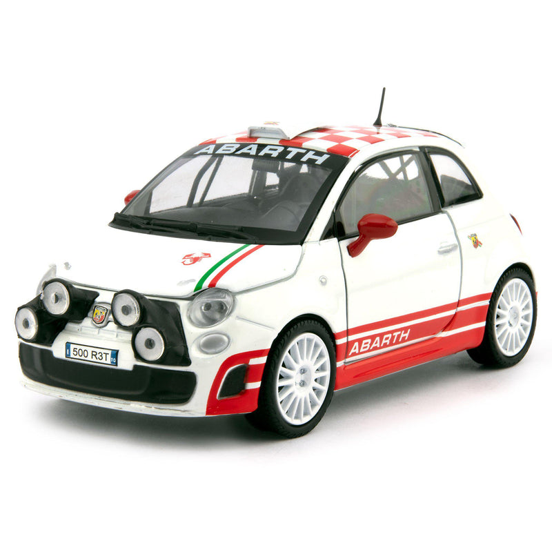 Fiat 500 Abarth R3T Diecast Toy Car 2009 white - 1:24 Scale-Motormax-Diecast Model Centre