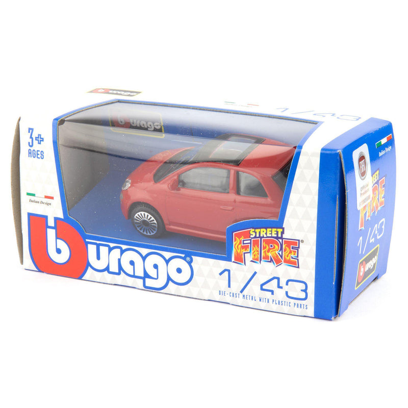 Fiat 500 Diecast Toy Car 2008 red - 1:43 Scale-Bburago-Diecast Model Centre