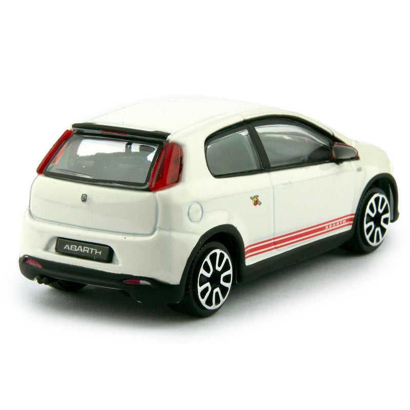 Fiat Abarth Grande Punto Diecast Toy Car 2014 white - 1:43 Scale-Bburago-Diecast Model Centre