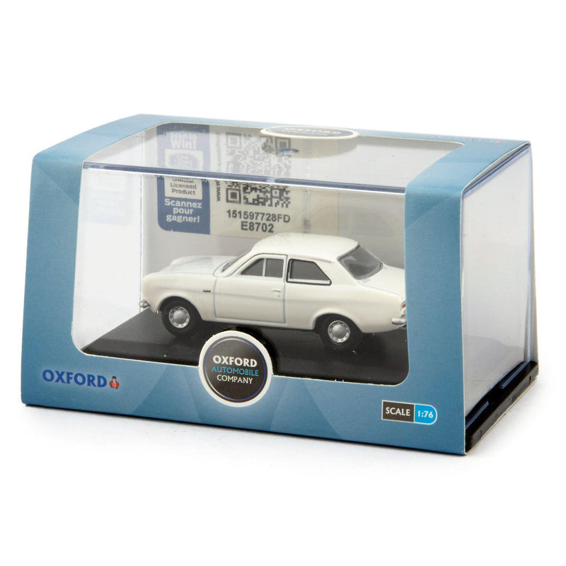 Ford Escort Mk1 Diecast Model Car Ermine White - 1:76 Scale-Oxford Diecast-Diecast Model Centre