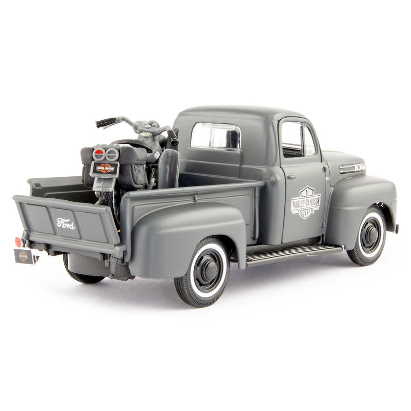 Ford F1 Diecast Model Pickup 1948 grey + Harley-Davidson - 1:24 Scale-Maisto-Diecast Model Centre