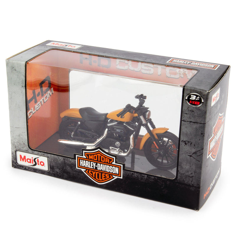 Harley-Davidson Sportster Iron 883 Diecast Model Motorcycle 2014 yellow- 1:18 scale-Maisto-Diecast Model Centre