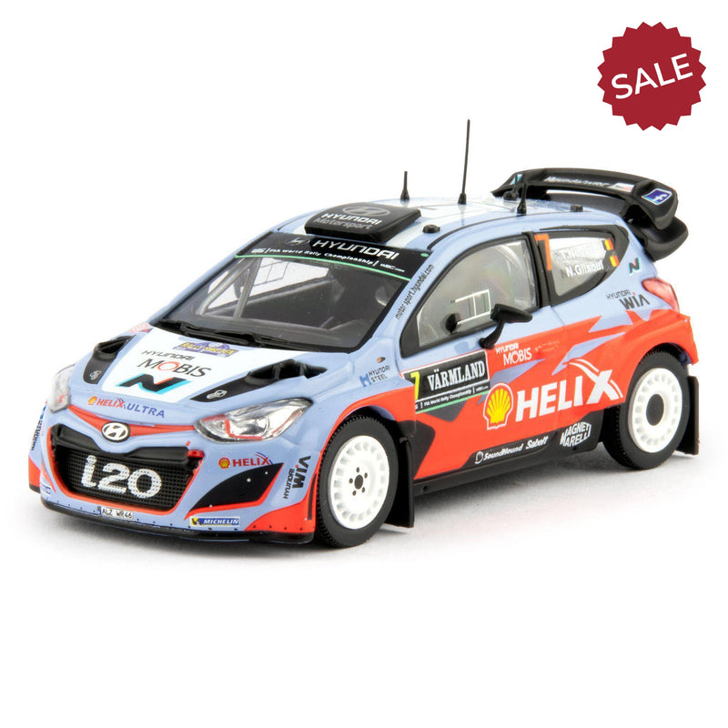 Hyundai i20 WRC Diecast Model Car Sweden 2015 Neuville - 1:43 Scale-Unbranded-Diecast Model Centre