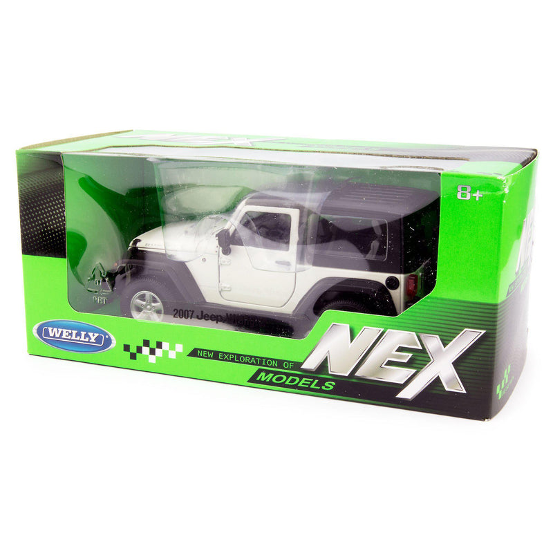 Jeep Wrangler Rubicon Diecast Model Car 2007 white - 1:24 Scale-Welly-Diecast Model Centre