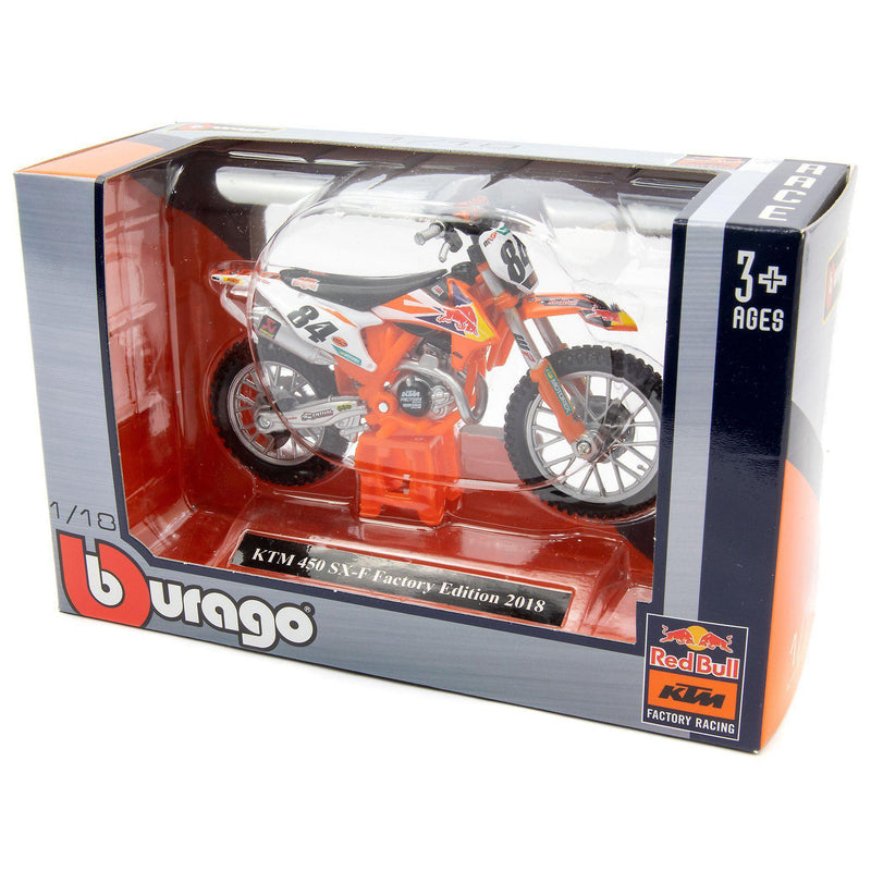 KTM 450 SX-F Factory Edition Diecast Model Motorcycle 2018 - 1:18 Scale-Bburago-Diecast Model Centre