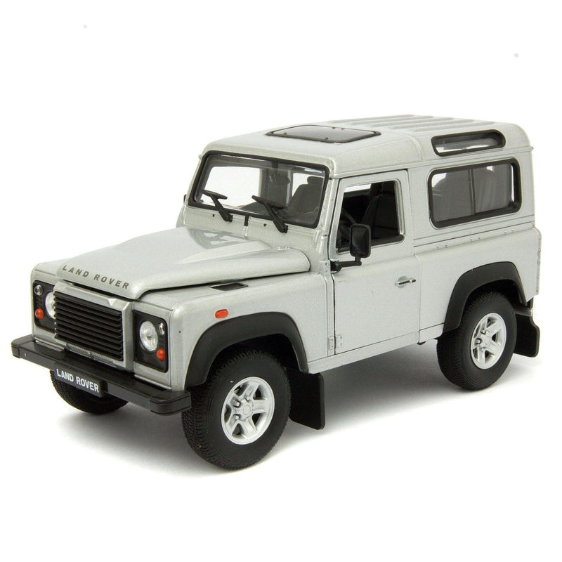 Land Rover Defender 90 Diecast Model Car silver - 1:24 Scale-Welly-Diecast Model Centre