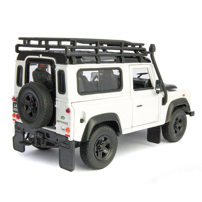 Land Rover Defender 90 Diecast Model Car with snorkel white - 1:24 Scale-Welly-Diecast Model Centre