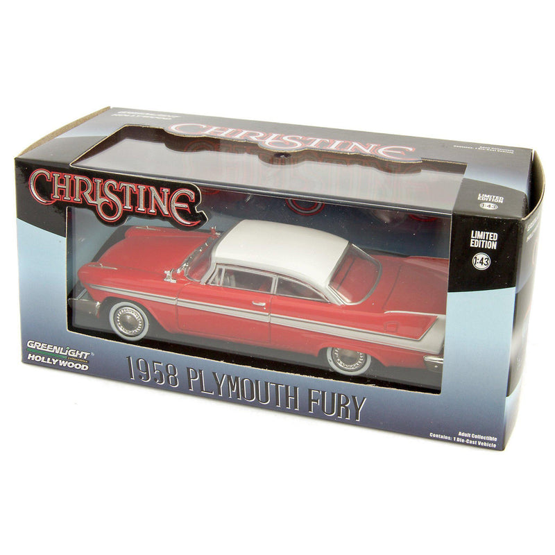 Plymouth Fury Diecast Model Car 1958 red Christine - 1:43 Scale-GreenLight-Diecast Model Centre