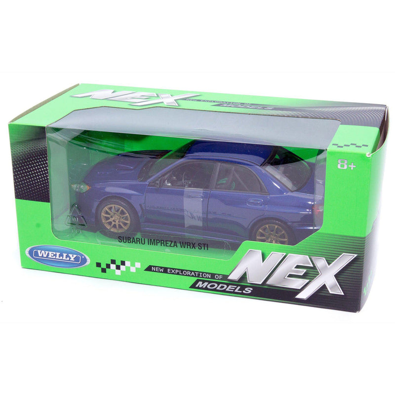 Subaru Impreza WRX STI Diecast Model Car 2010 blue - 1:24 Scale-Welly-Diecast Model Centre