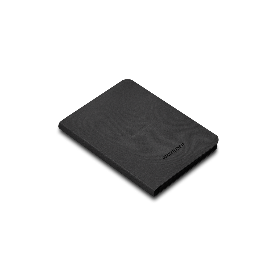 Wayfinder BORDERLESS modern minimal passport / notebook holder closed isometric view