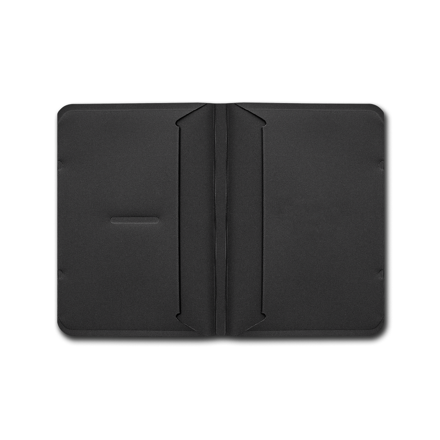 Wayfinder BORDERLESS modern minimal passport / notebook holder open and empty top view