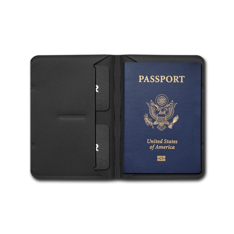 Wayfinder BORDERLESS modern minimal passport / notebook holder open and full top view