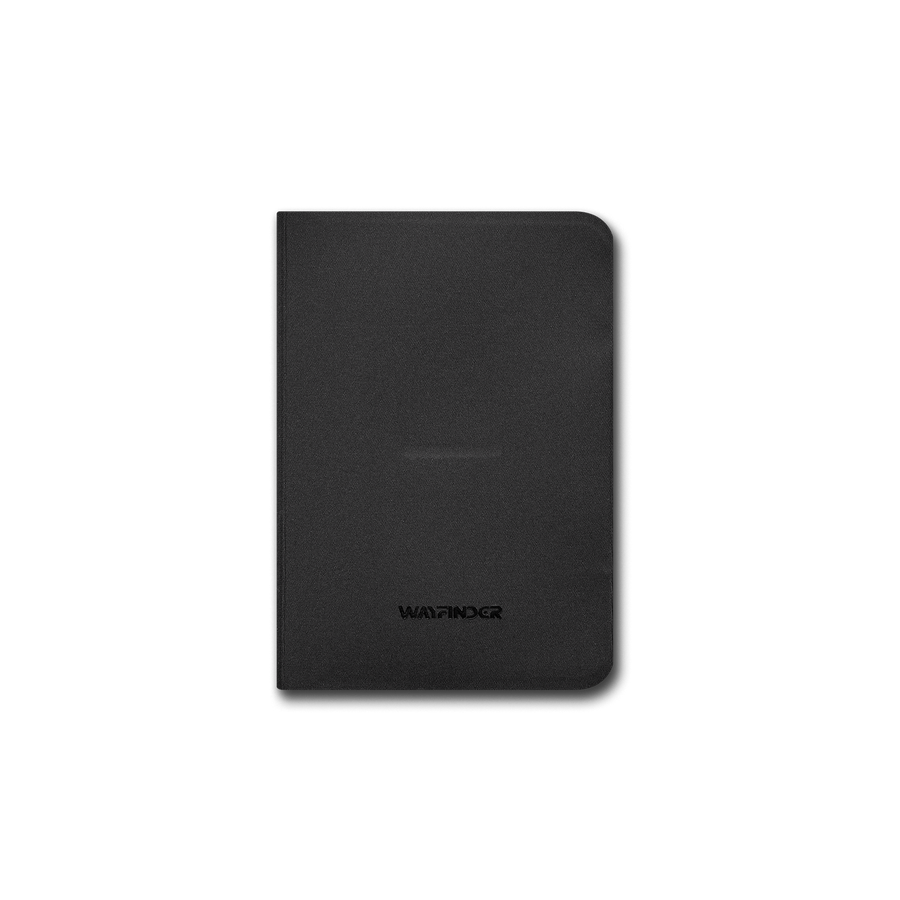 Wayfinder BORDERLESS modern minimal passport / notebook holder closed top view