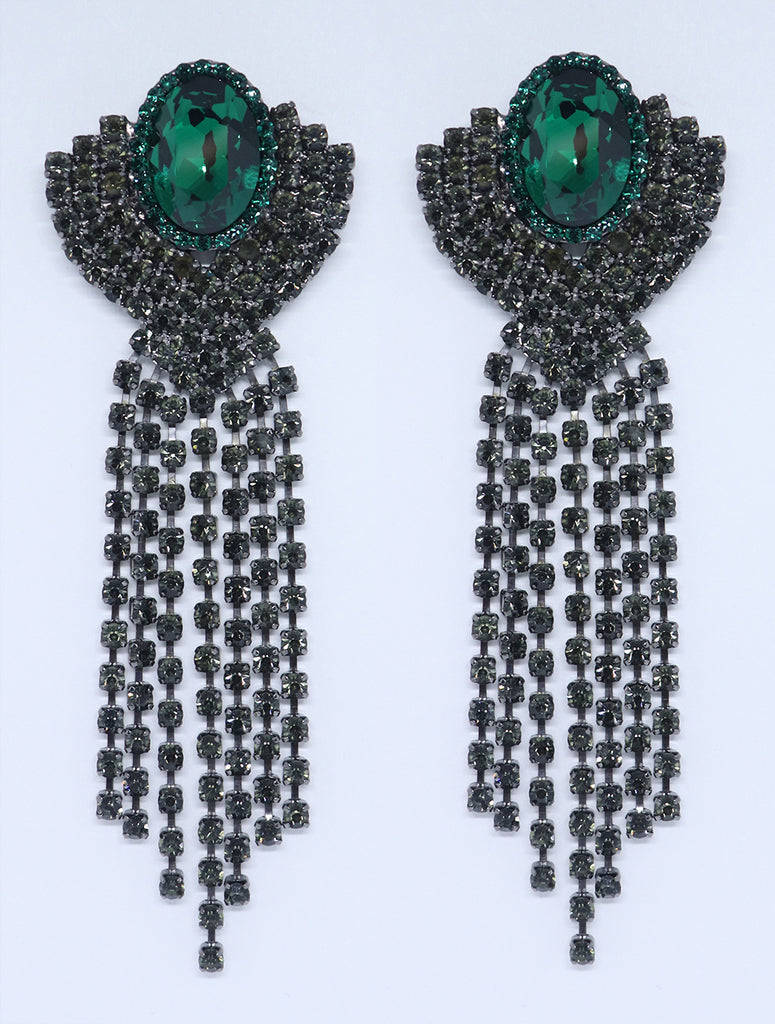 Half Shell Fringe, Emerald and Black Diamond