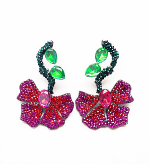 Abstract Crystal Flower Earrings