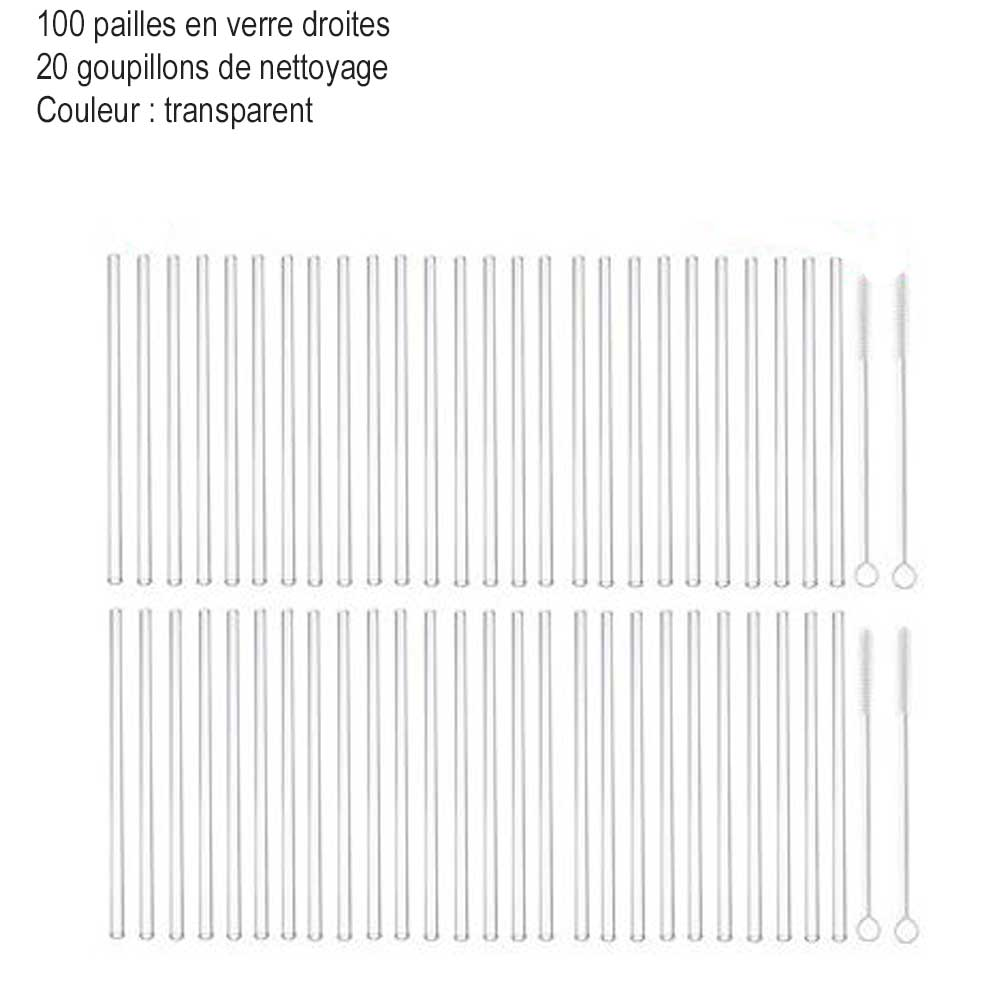 100 pailles en verre glass straw couleur transparent