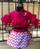 Chevron Ruffles & Butterflies - Skirt & Top