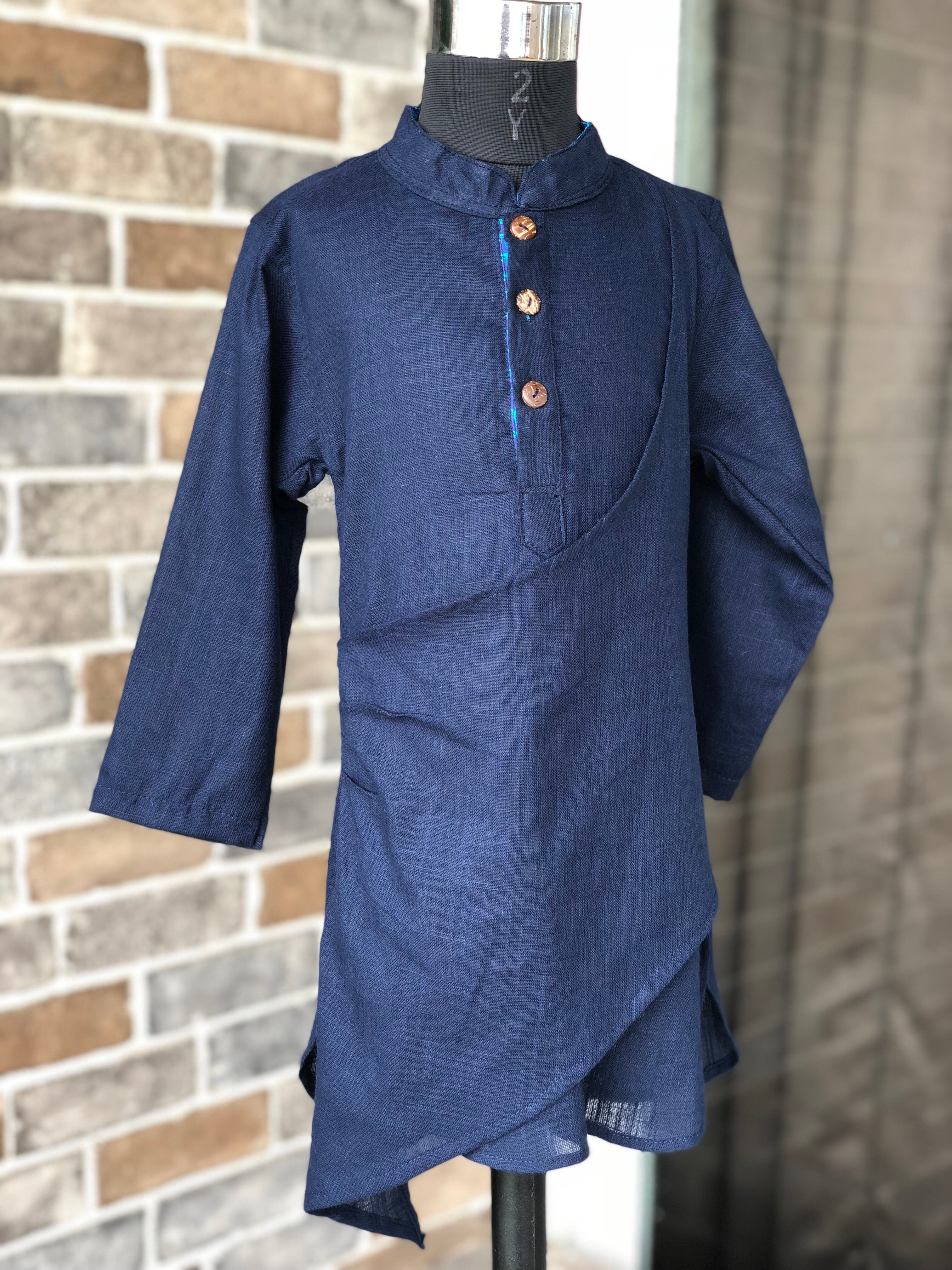 Navy Check Mate Kurta - Child