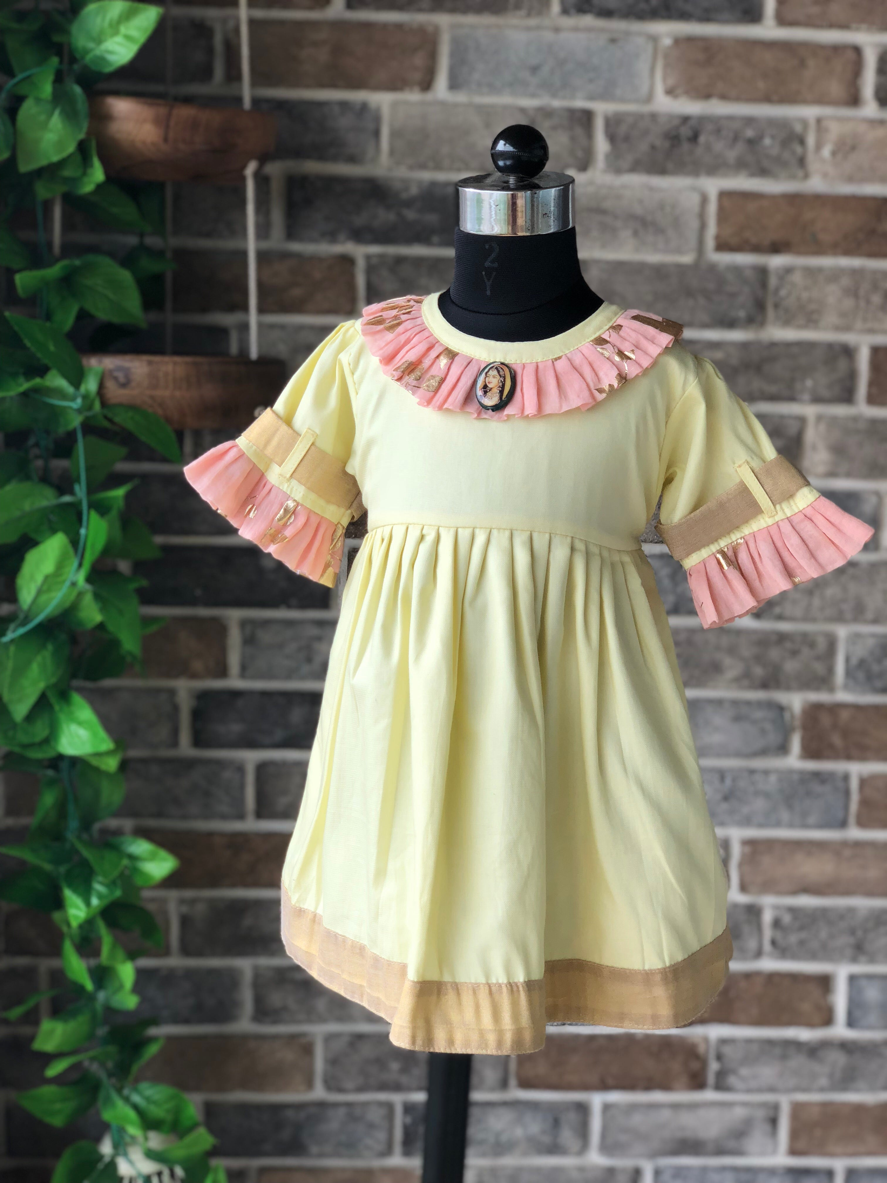 Yellow Peach Foils - Short Dress