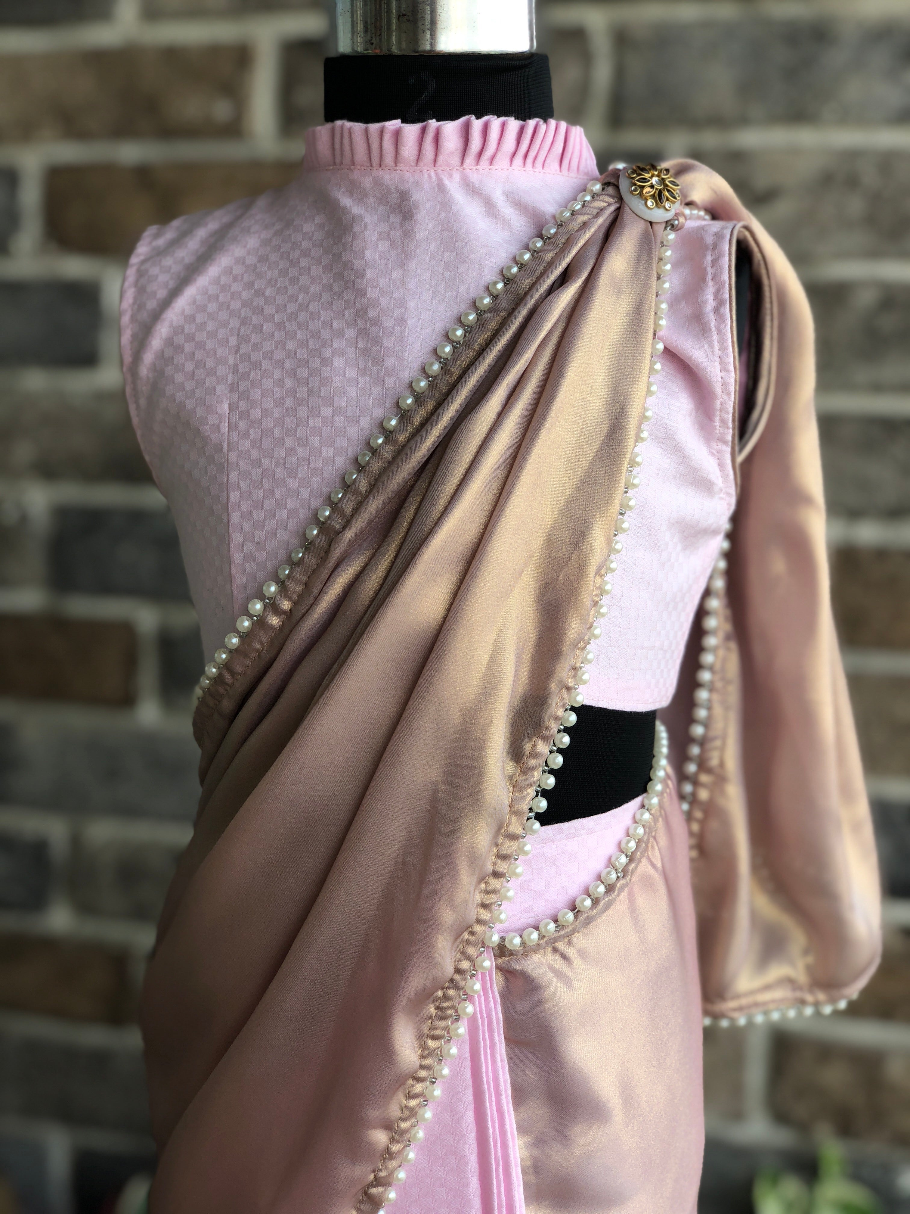 Dream Girl - Baby Pink Chevron Stitched Saree