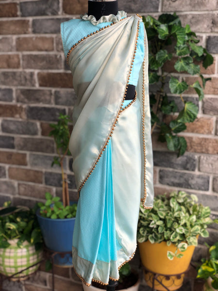 Dream Girl - Pearly Blue Stitched Saree