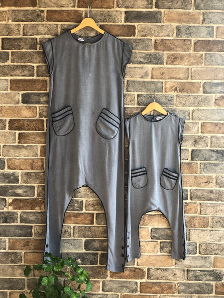 Comfy Blue Jumpsuit - Twinning for mommy & daughter