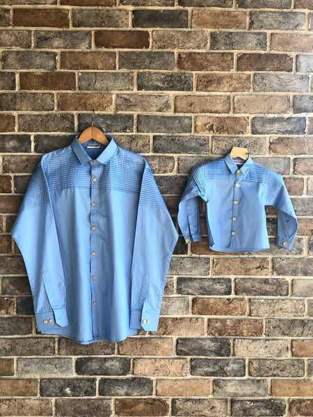 True Blue - Pin Pleates Shirt ( Twinning )