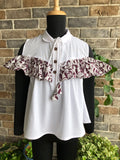 Cute Panda - Ruffled Cold Shoulder Top