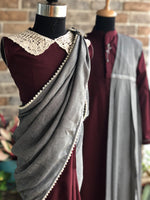 Dream Girl - Creamy Maroon Stitched Saree