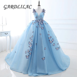Stock V Neck Blue  Quinceanera Dresses  Butterfly Masquerade Ball Gown Prom Formal dress Vestidos De 15 Anos