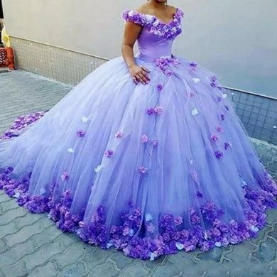 Purple Ball Gown Quinceanera Dresses With Handmade Flowers Off The Shoulder Bridal Dress Long Train Lace Up Back Formal Vestidos