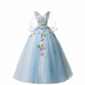 Quinceanera Dress Full Sleeve V-neck Party Prom Solo Ball Gown Sweet Floral Print Host Quinceanera Dresses Plus Size
