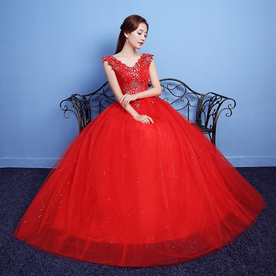 Vestido De Noiva 2020 V-neck Red Beading Backless Quinceanera Dresses Tulle Crystal Ball Gown Elegant Quinceanera Gowns