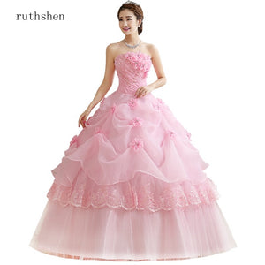 ruthshen Ball Gown Sweet Pink Vestidos De 15 Flowers Cheap Quinceanera Gowns Sweet 16 Debutante Dresses 2019 Robe De Bal